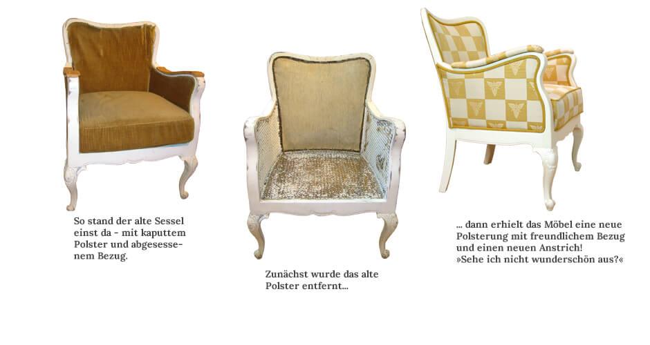 Kaum wiederzuerkennen!<br />Ein neuer Bezug verleiht einem Möbelstück eine völlig neue Ausstrahlung.