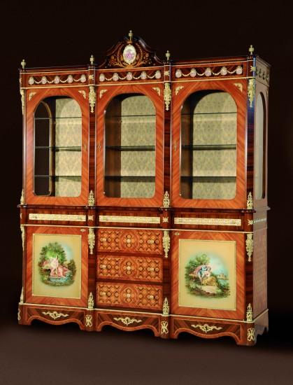 aufsatz-vitrinenschrank-barock-bemalt-gross-schubladen-tueren-rosenholz-binda-1121