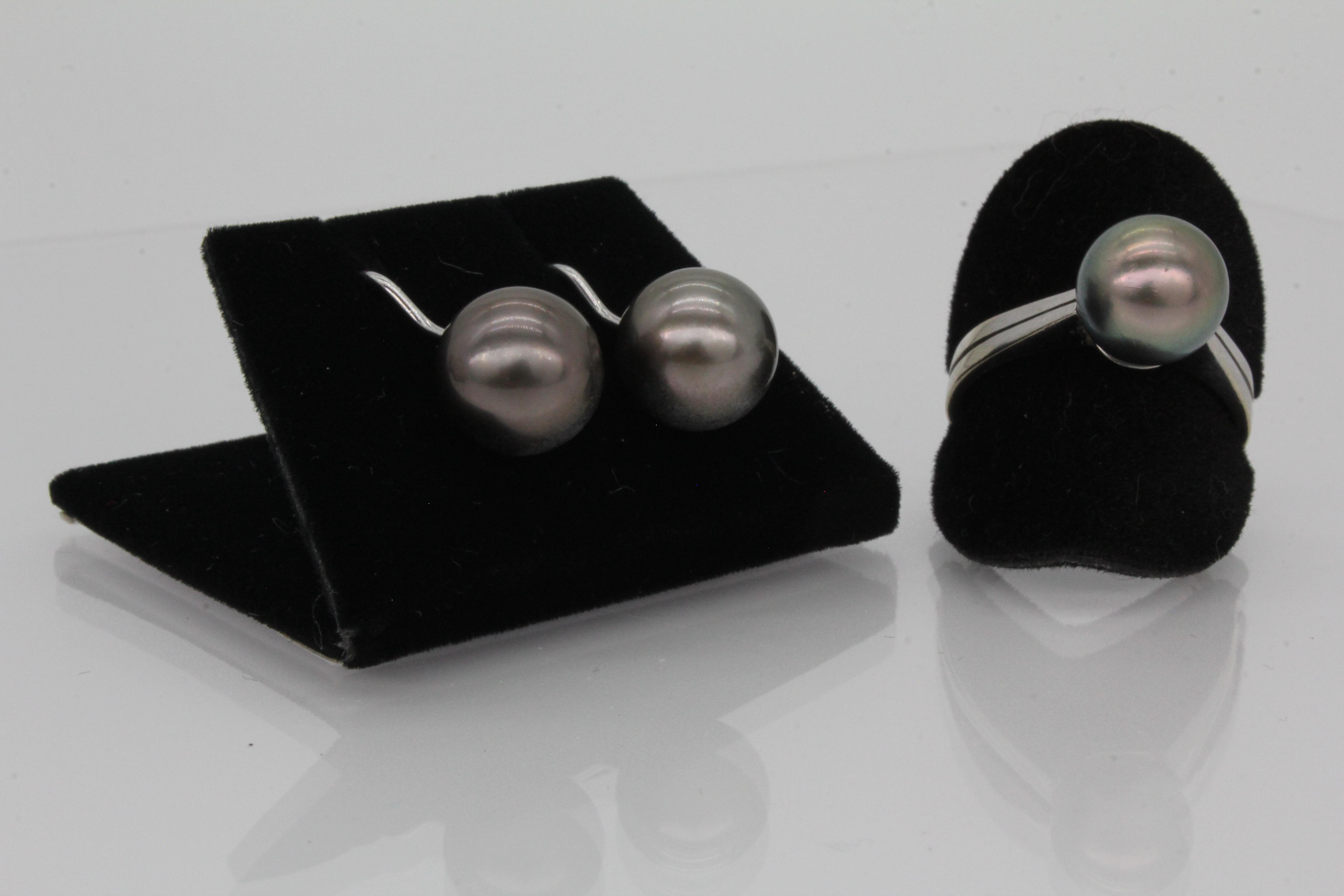 Tahiti Perlen Ohrringe und Ring