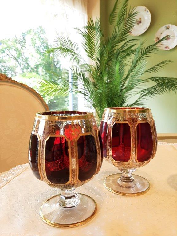 Cognac Gläser, mundgeblasen in Farbe