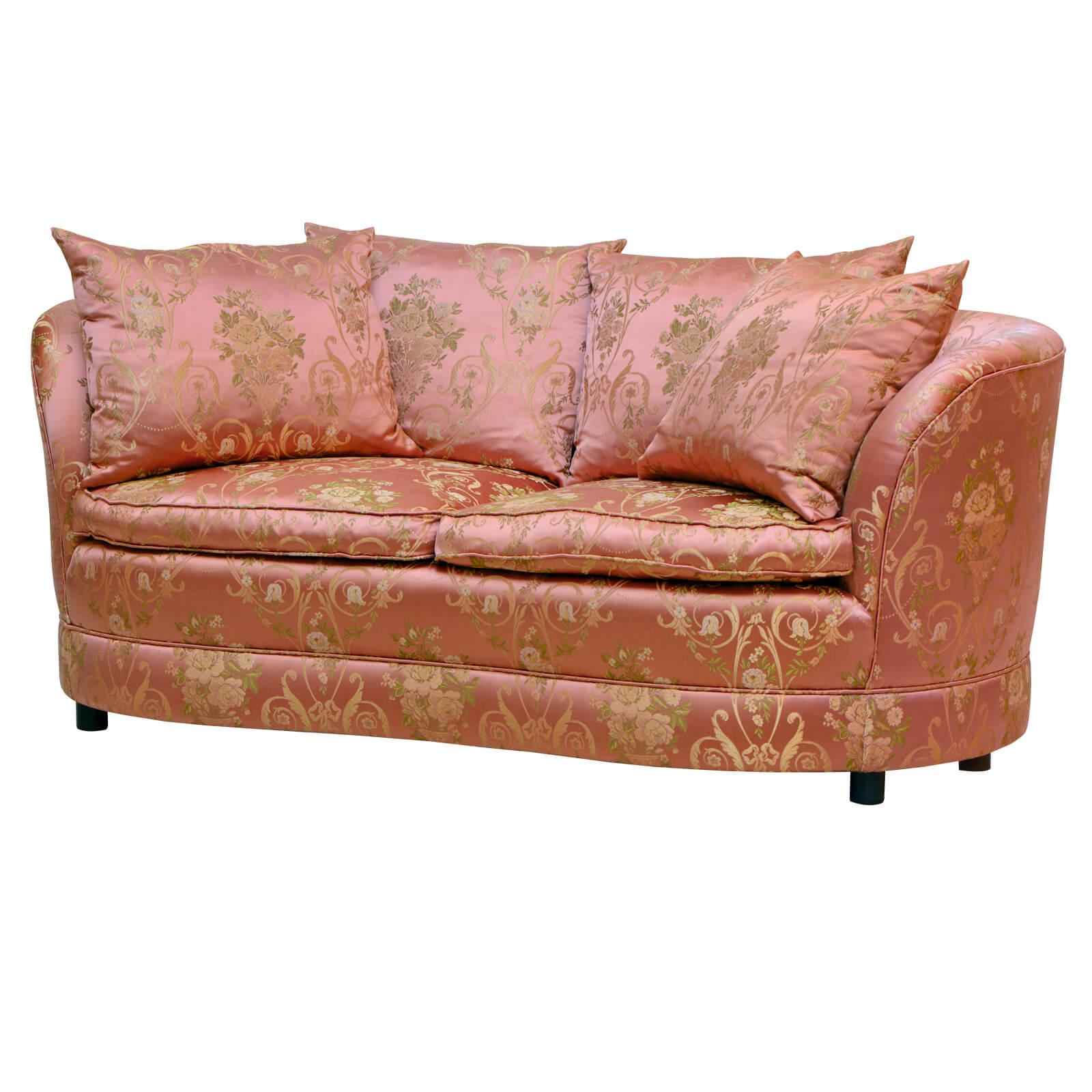 Sofa Leandra in ausergewöhnlicher Form mit seidenglänzendem Stoff bezogen. aus zweiter Hand