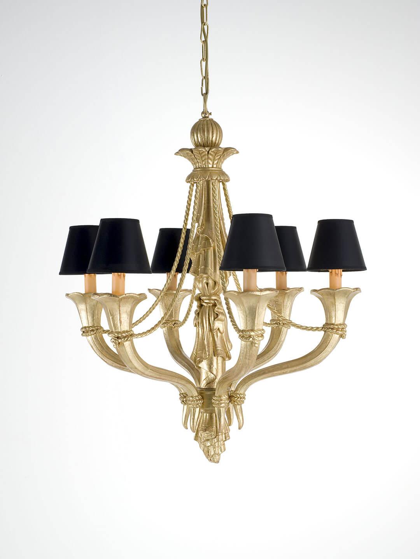 Deckenleuchter Gold Geschnitzt Holz Chelini 1025